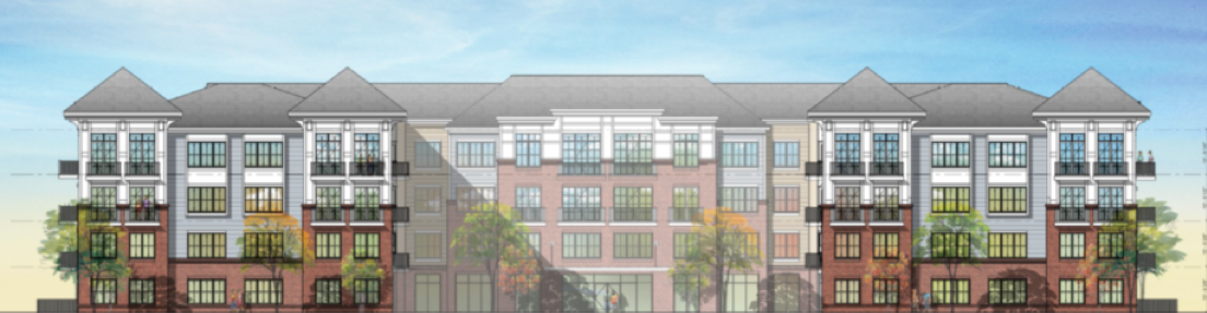 architectural drawing of the exterior of the Inwood at Renaissance Square apartments by RHO Residential in Marlton, NJ